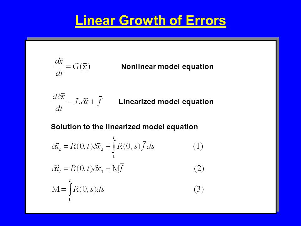 Linear Growth of Errors Nonlinear model equationLinearized model equation Solution to the linearized model equation