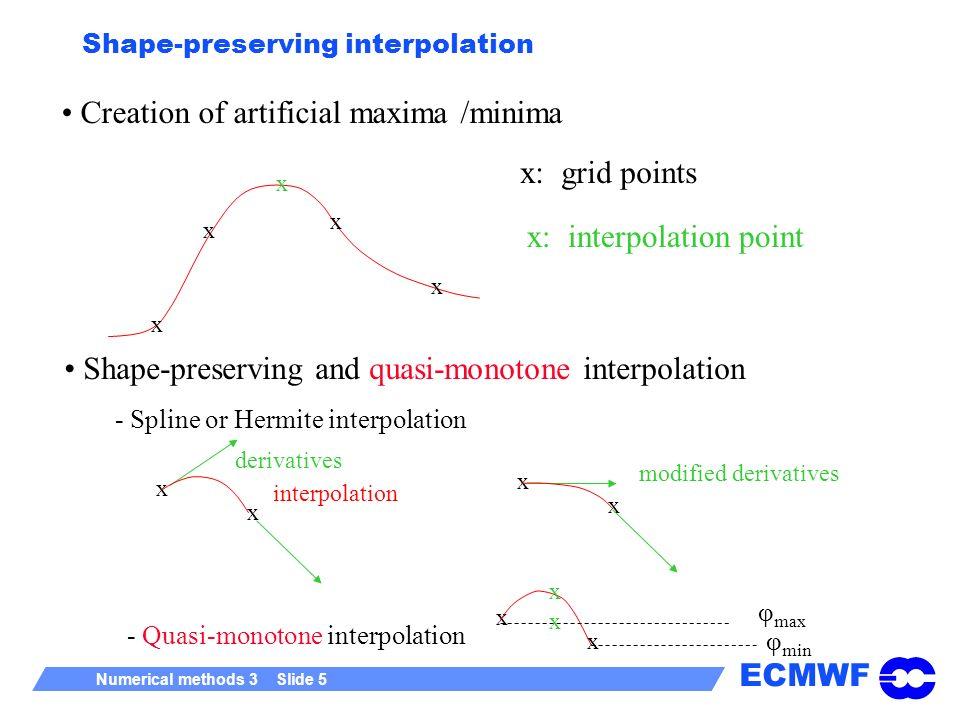 ECMWF Numerical methods 3 Slide 6 Interpolation in the IFS semi-Lagrangian scheme with the weights ECMWF model uses quasi-monotone quasi-cubic Lagrange interpolation xxxx x xxxx xxxx xxxx x x x x y x Number of 1D cubic interpolations in two dimensions is 5, in three dimensions 21.