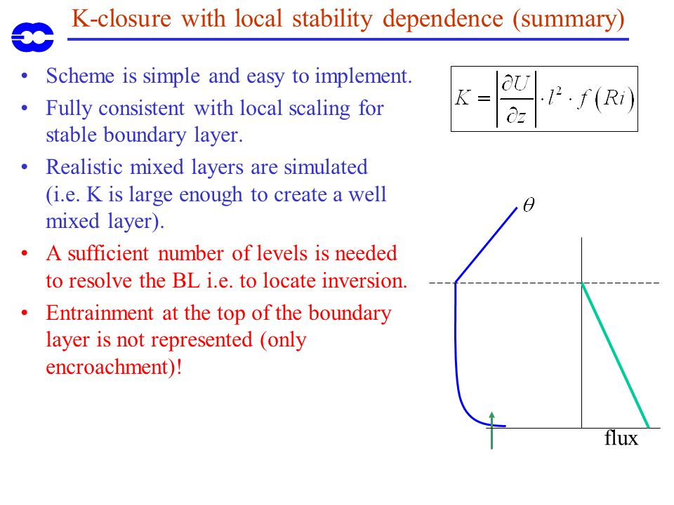 K-closure with local stability dependence (summary) Scheme is simple and easy to implement.