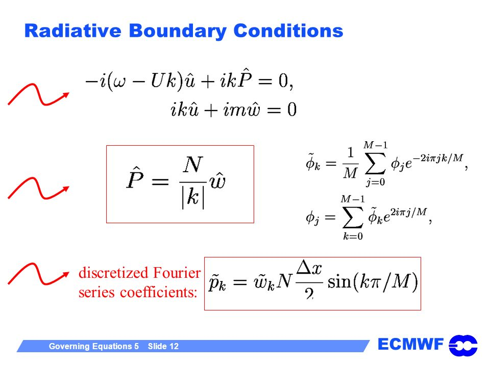 ECMWF Governing Equations 5 Slide 12 Radiative Boundary Conditions discretized Fourier series coefficients: