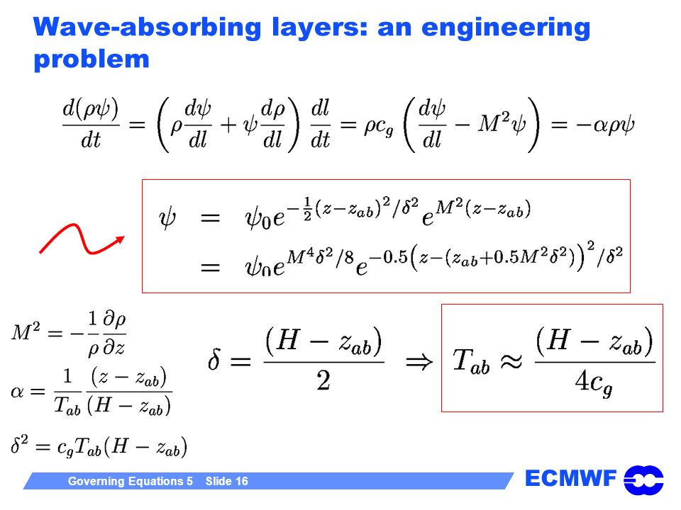 ECMWF Governing Equations 5 Slide 16 Wave-absorbing layers: an engineering problem