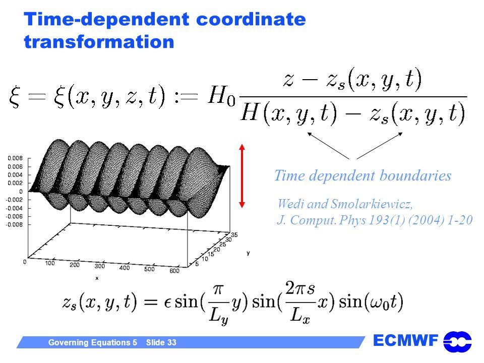 ECMWF Governing Equations 5 Slide 33 Time-dependent coordinate transformation Time dependent boundaries Wedi and Smolarkiewicz, J. Comput. Phys 193(1)