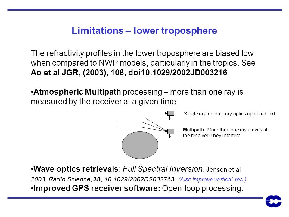 Limitations – lower troposphere The refractivity profiles in the lower troposphere are biased low when compared to NWP models, particularly in the tro