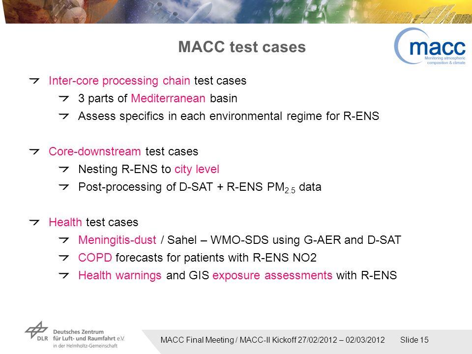 MACC Final Meeting / MACC-II Kickoff 27/02/2012 – 02/03/2012 Slide 15 Inter-core processing chain test cases 3 parts of Mediterranean basin Assess spe