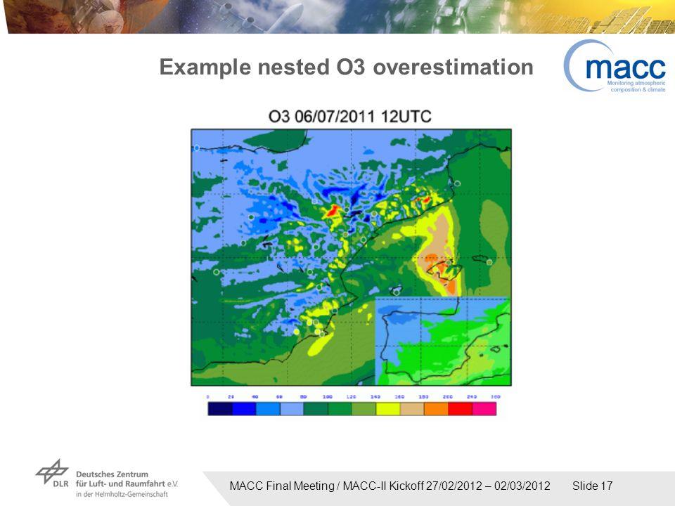 MACC Final Meeting / MACC-II Kickoff 27/02/2012 – 02/03/2012 Slide 17 Example nested O3 overestimation