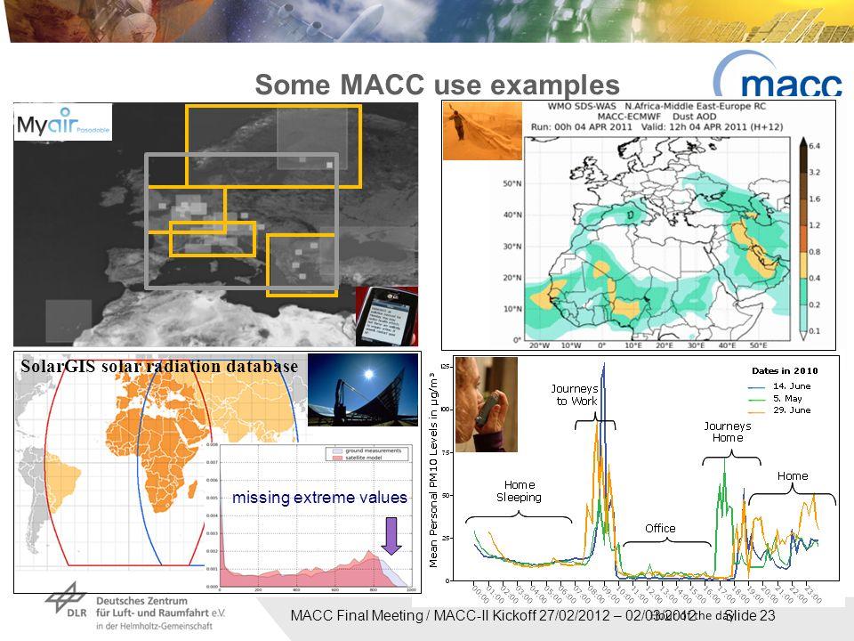 MACC Final Meeting / MACC-II Kickoff 27/02/2012 – 02/03/2012 Slide 23 Some MACC use examples missing extreme values SolarGIS solar radiation database