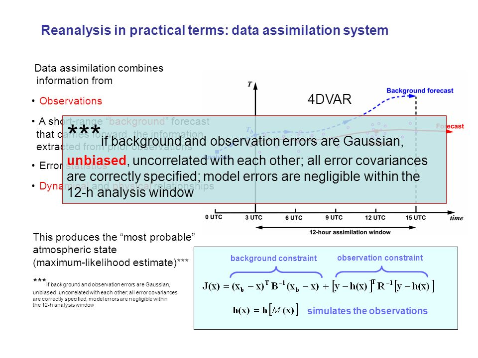 Data assimilation combines information from Observations A short-range background forecast that carries forward the information extracted from prior o