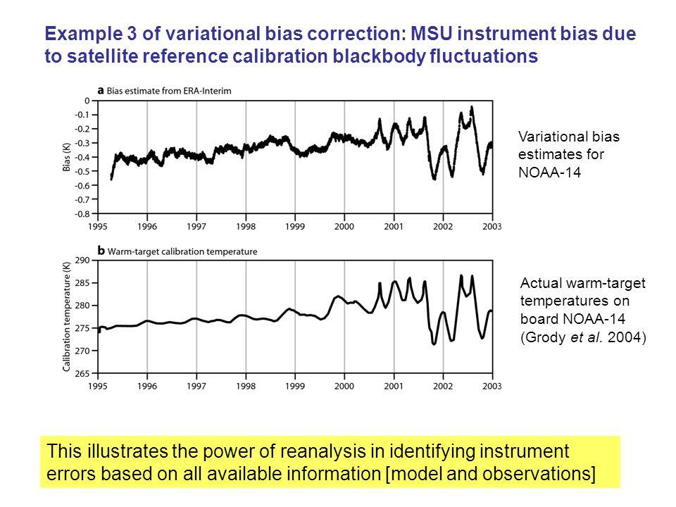 Example 3 of variational bias correction: MSU instrument bias due to satellite reference calibration blackbody fluctuations Variational bias estimates