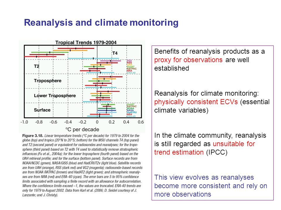 Reanalysis and climate monitoring Benefits of reanalysis products as a proxy for observations are well established Reanalysis for climate monitoring: