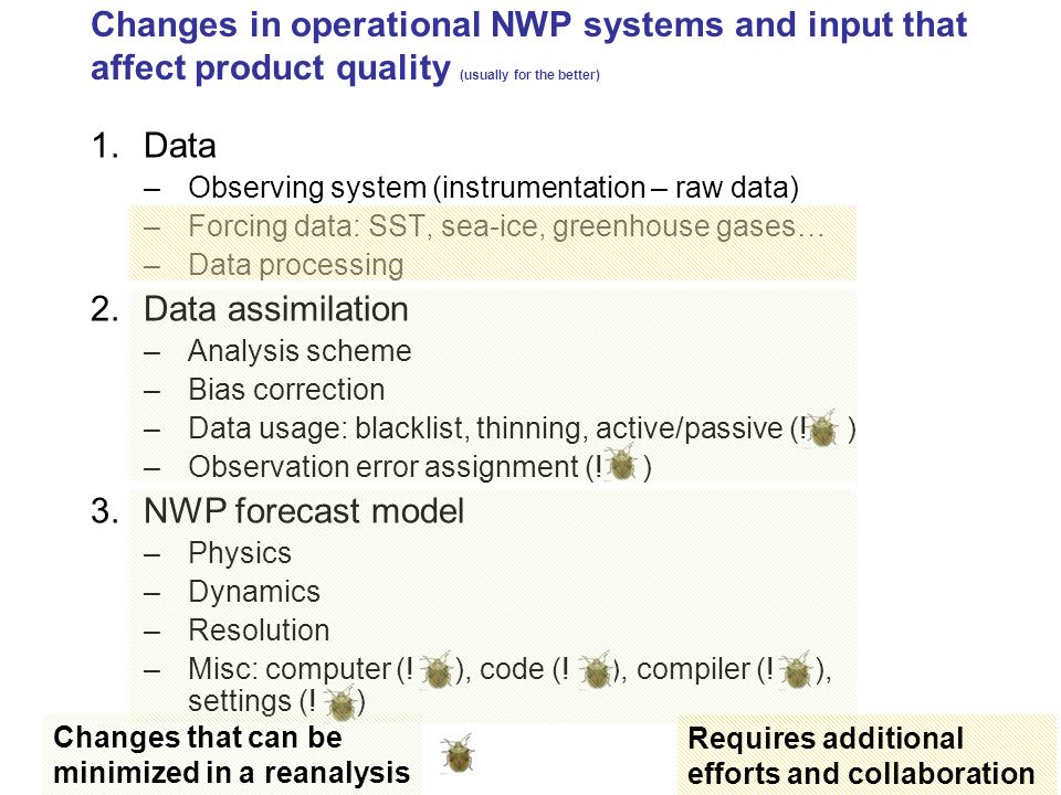 Reanalysis in practical terms: NWP forecast model Use a fixed version (dynamics, physics) –To benefit from the best available parametrizations and modeling Use a fixed resolution –Must be computationally affordable to cover say 20 years –Implies to run about 10 days of assimilation and forecast per day of reanalysis run Practical choice, before starting reanalysis production: –Use the near-latest operational model version –Use the resolution that was operational 6-8 years ago Do not change setup during the run Be extra careful when changing machine, compiler… In a reanalysis, one picks a model configuration version and resolution which is best for the purpose – and one tries to stick to it!!