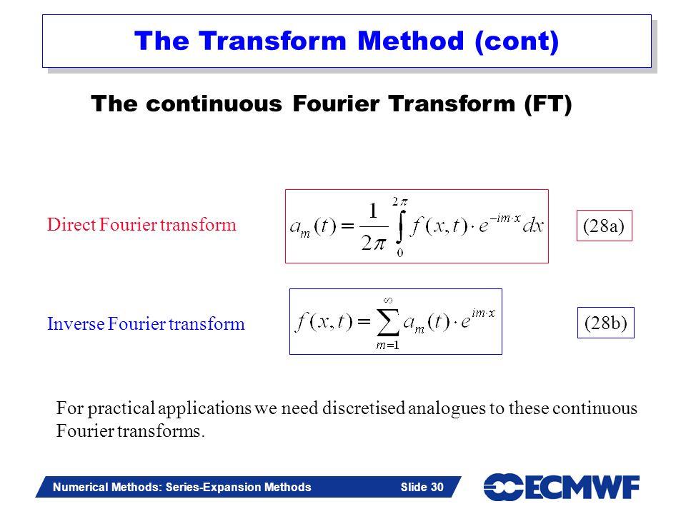 Slide 30 Numerical Methods: Series-Expansion Methods Slide 30 The continuous Fourier Transform (FT) Direct Fourier transform Inverse Fourier transform
