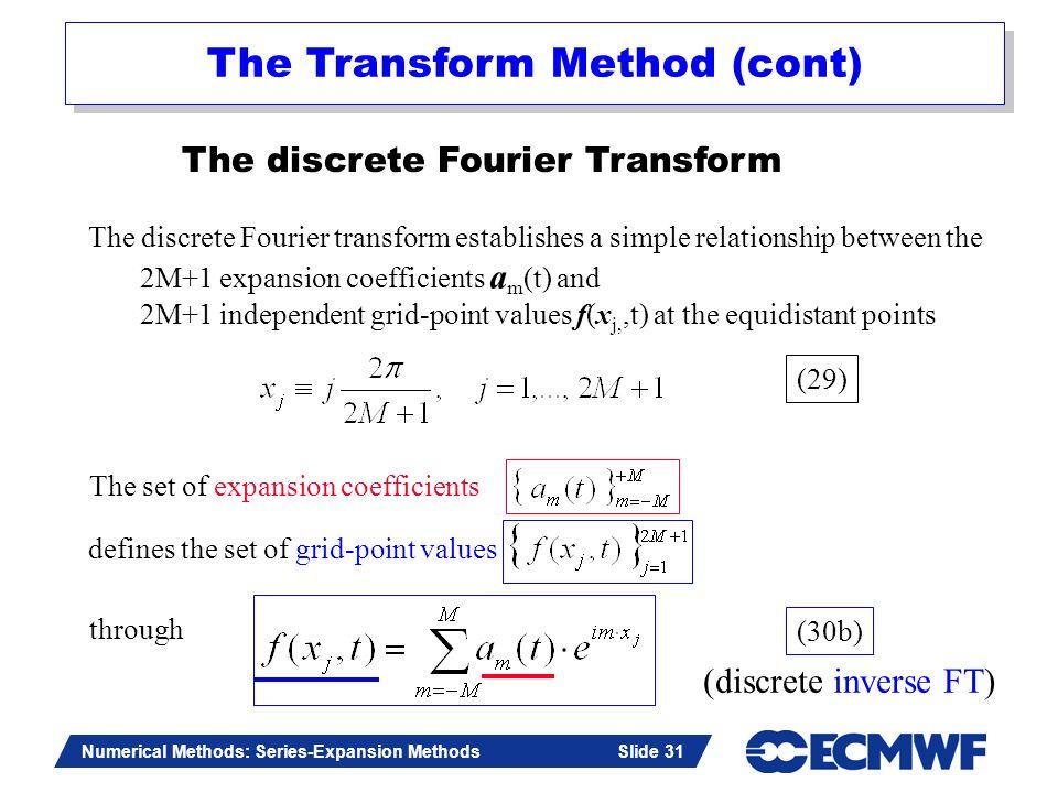 Slide 31 Numerical Methods: Series-Expansion Methods Slide 31 The discrete Fourier Transform The discrete Fourier transform establishes a simple relat