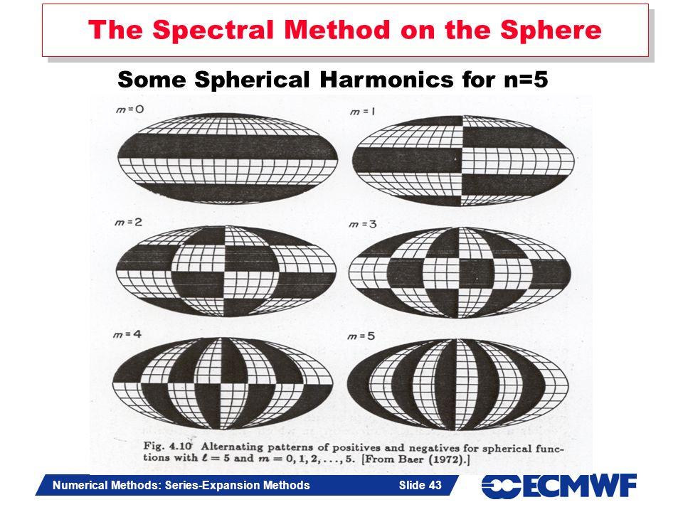 Slide 43 Numerical Methods: Series-Expansion Methods Slide 43 The Spectral Method on the Sphere Some Spherical Harmonics for n=5