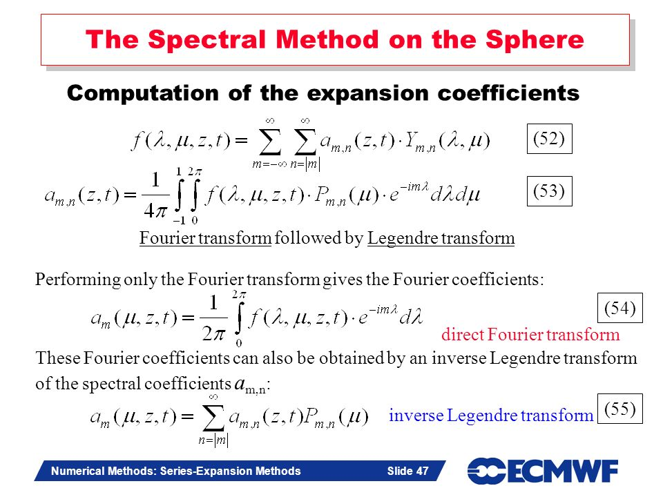 Slide 47 Numerical Methods: Series-Expansion Methods Slide 47 The Spectral Method on the Sphere Computation of the expansion coefficients Fourier tran