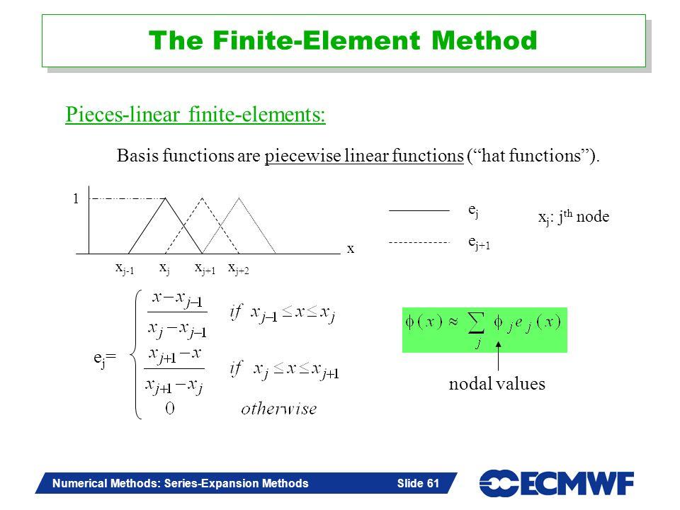 Slide 61 Numerical Methods: Series-Expansion Methods Slide 61 The Finite-Element Method 1 x xjxj x j+1 x j+2 x j-1 ejej e j+1 x j : j th node ej=ej= n