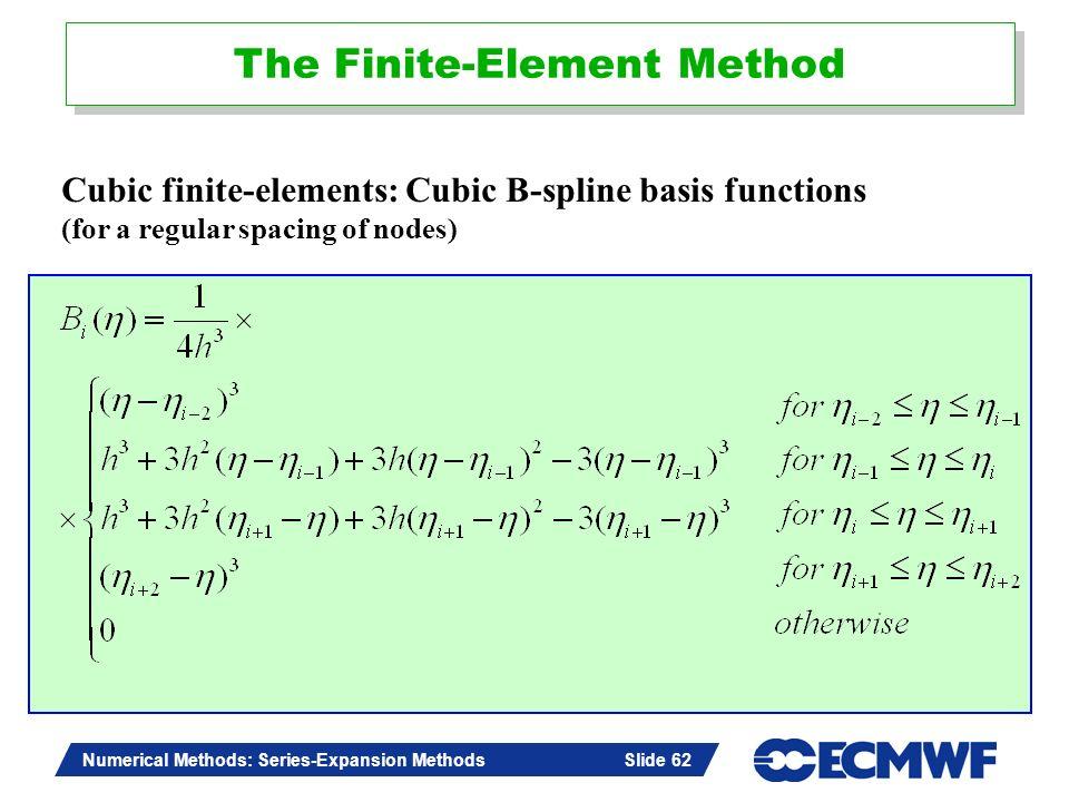 Slide 62 Numerical Methods: Series-Expansion Methods Slide 62 Cubic finite-elements: Cubic B-spline basis functions (for a regular spacing of nodes) T