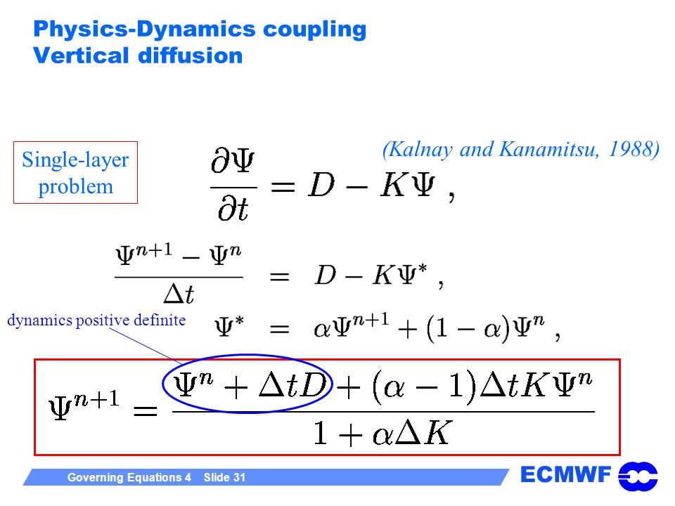 ECMWF Governing Equations 4 Slide 31 Physics-Dynamics coupling Vertical diffusion Single-layer problem (Kalnay and Kanamitsu, 1988) dynamics positive