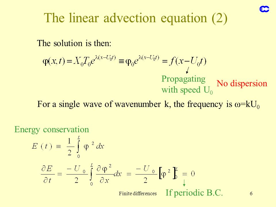 Finite differences6 The linear advection equation (2) The solution is then: Propagating with speed U 0 For a single wave of wavenumber k, the frequenc