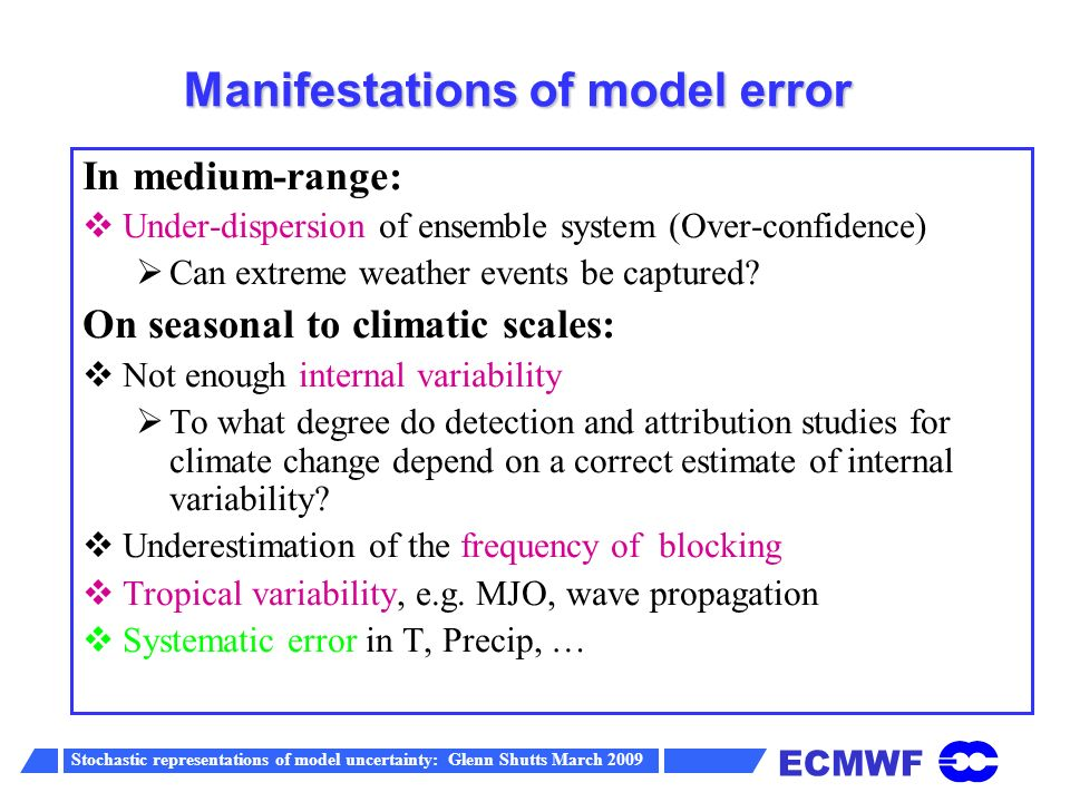 ECMWF Stochastic representations of model uncertainty: Glenn Shutts March 2009 Rms error of the ensemble mean versus spread about the ensemble mean of u at 200 hPa (20-90 N)