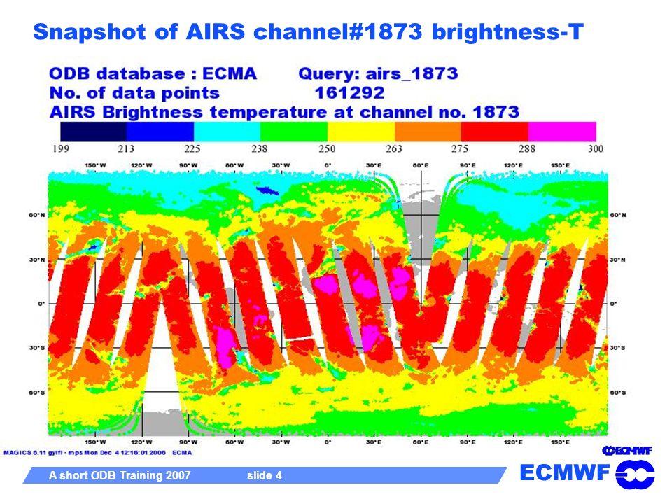 ECMWF A short ODB Training 2007 slide 4 Snapshot of AIRS channel#1873 brightness-T