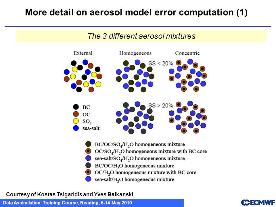 Data Assimilation Training Course, Reading, 5-14 May 2010 More detail on aerosol model error computation (1) Courtesy of Kostas Tsigaridis and Yves Ba