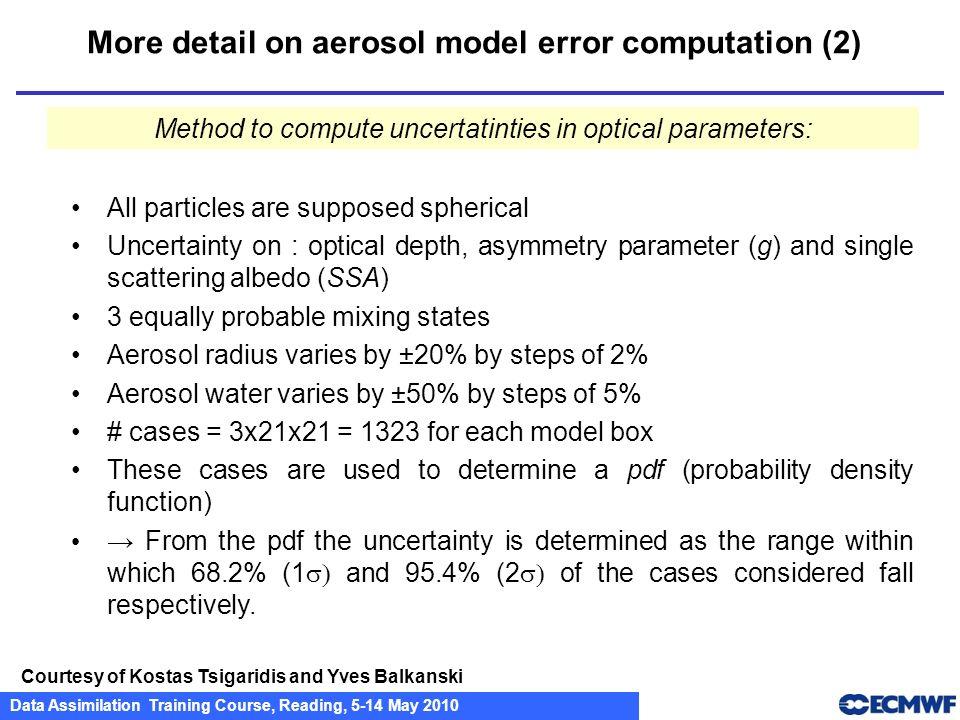 Data Assimilation Training Course, Reading, 5-14 May 2010 More detail on aerosol model error computation (2) Courtesy of Kostas Tsigaridis and Yves Ba