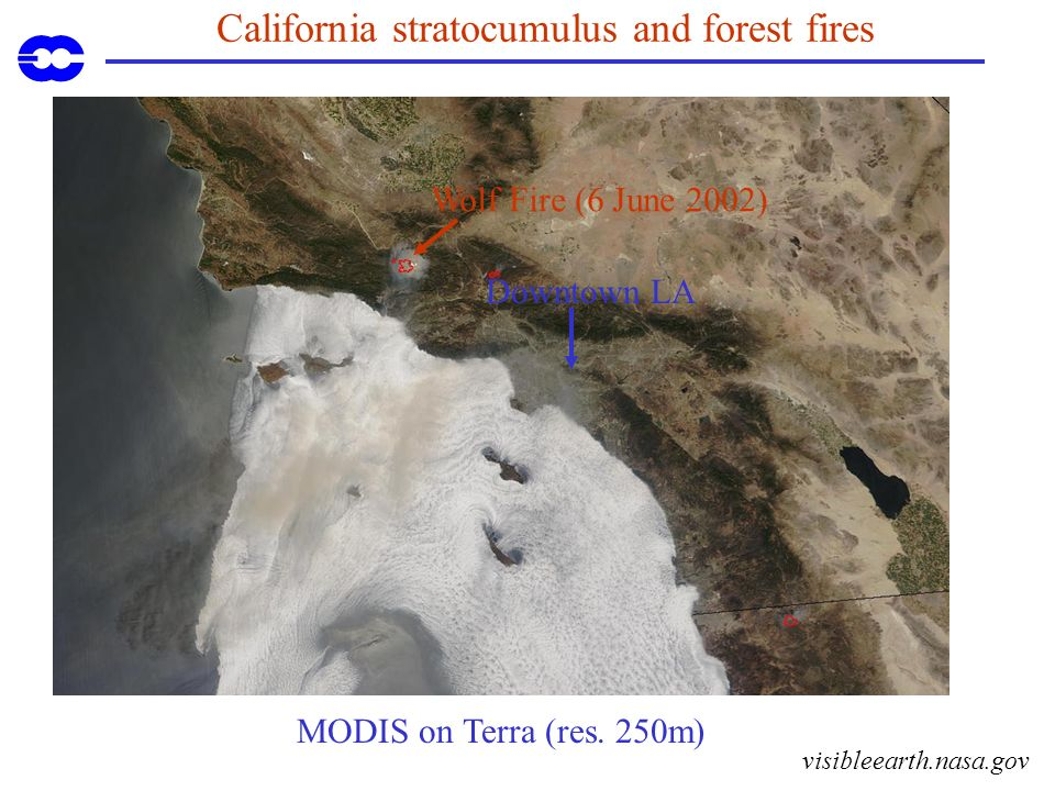 California stratocumulus and forest fires Downtown LA MODIS on Terra (res. 250m) visibleearth.nasa.gov Wolf Fire (6 June 2002)