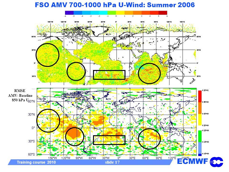 ECMWF Training course 2010 slide 17 FSO AMV 700-1000 hPa U-Wind: Summer 2006 RMSE AMV- Baseline 850 hPa U