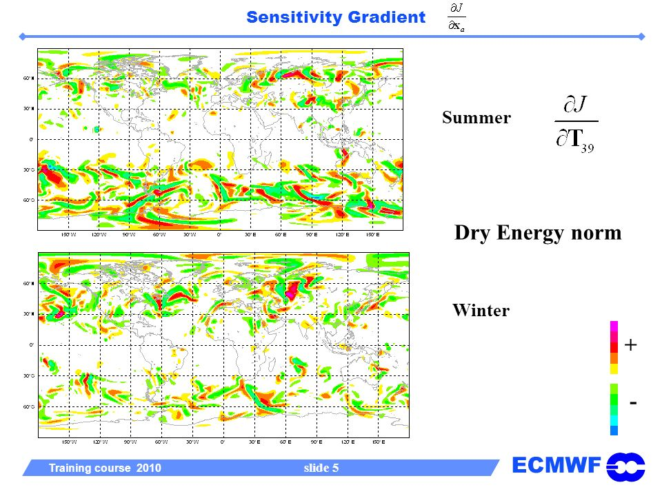 ECMWF Training course 2010 slide 5 Sensitivity Gradient Summer Winter + - Dry Energy norm