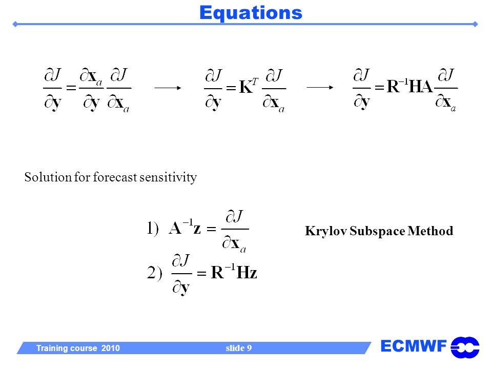 ECMWF Training course 2010 slide 9 Equations Solution for forecast sensitivity Krylov Subspace Method
