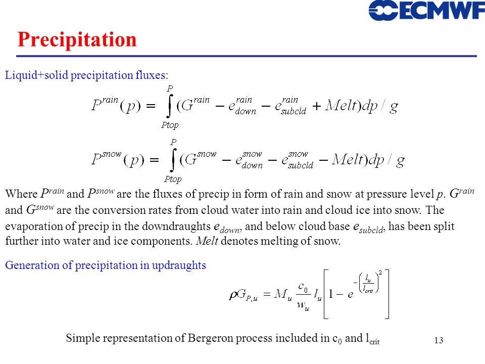 13 Precipitation Generation of precipitation in updraughts Simple representation of Bergeron process included in c 0 and l crit Liquid+solid precipita