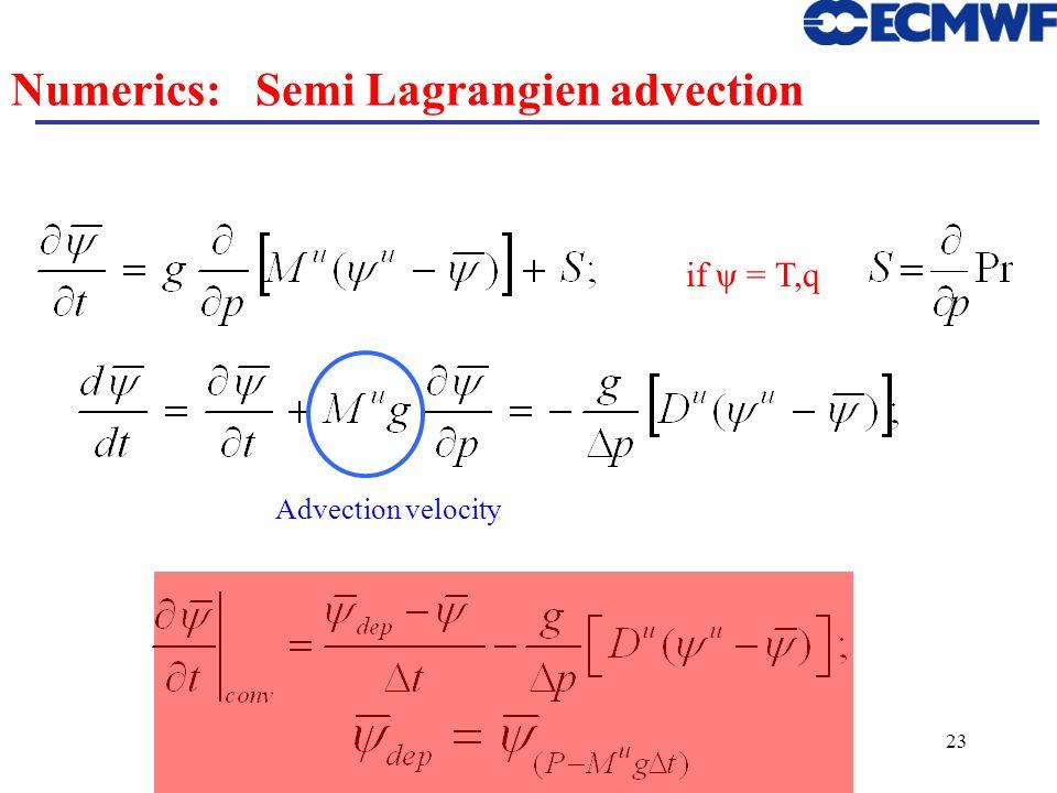 23 Numerics: Semi Lagrangien advection if ψ = T,q Advection velocity