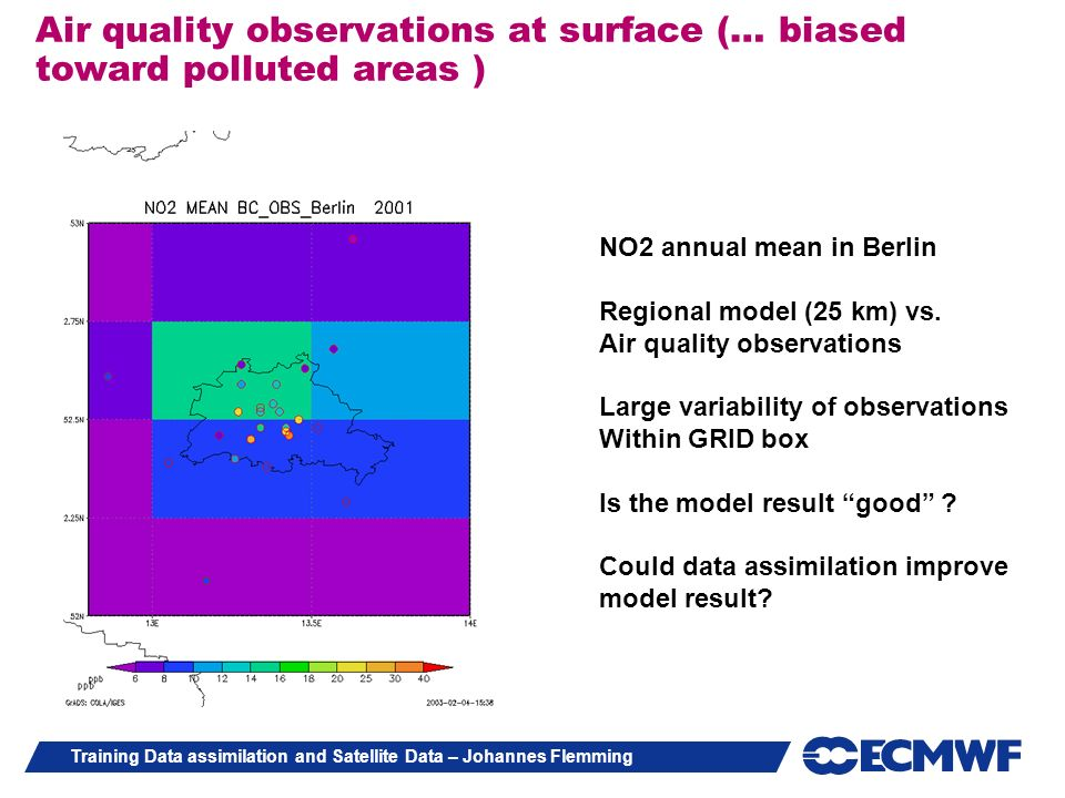 Training Data assimilation and Satellite Data – Johannes Flemming Air quality observations at surface (… biased toward polluted areas ) NO2 annual mea