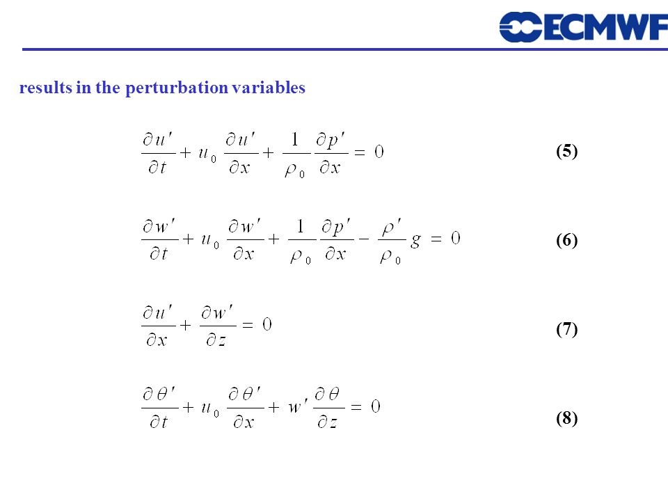 results in the perturbation variables (5) (6) (7) (8)