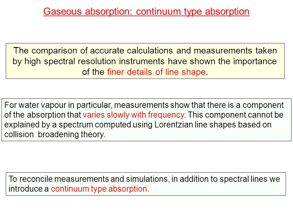 Gaseous absorption: continuum type absorption Mechanism: the exact mechanism for the continuum absorption continues to be a matter of debate.