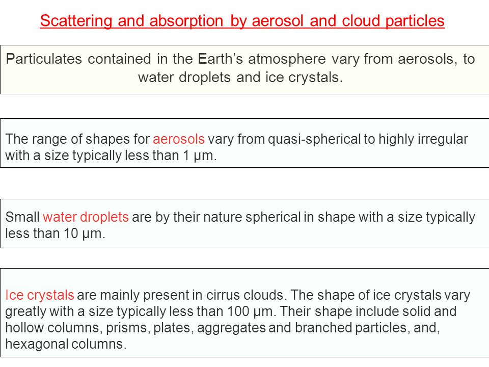 Scattering and absorption by aerosol and cloud particles The computation of the absorption/scattering coefficient (and phase function) for particles with a spherical shape can be performed by using the exact Lorentz-Mie theory for any practical size.