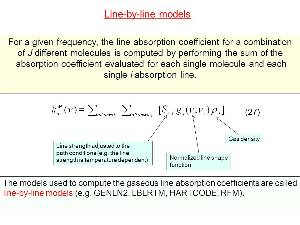 In addition to the computation of the line absorption coefficient, line-by-line models also perform the computation of the continuum absorption.