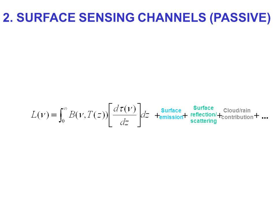 + Surface emission + Surface reflection/ scattering + Cloud/rain contribution +... 2. SURFACE SENSING CHANNELS (PASSIVE)