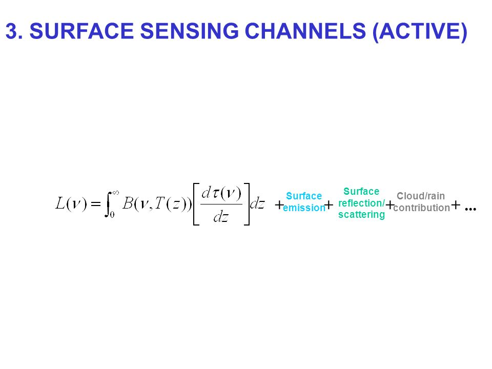 + Surface emission + Surface reflection/ scattering + Cloud/rain contribution +... 3. SURFACE SENSING CHANNELS (ACTIVE)