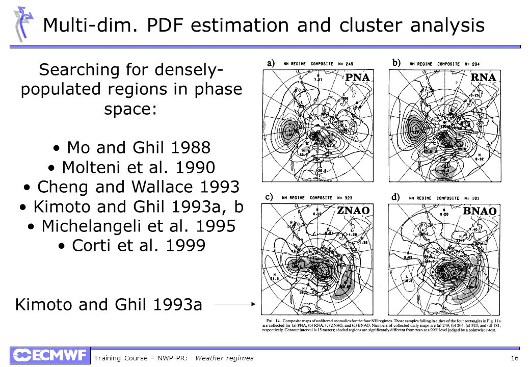 Training Course – NWP-PR: Weather regimes 16 Multi-dim. PDF estimation and cluster analysis Searching for densely- populated regions in phase space: M