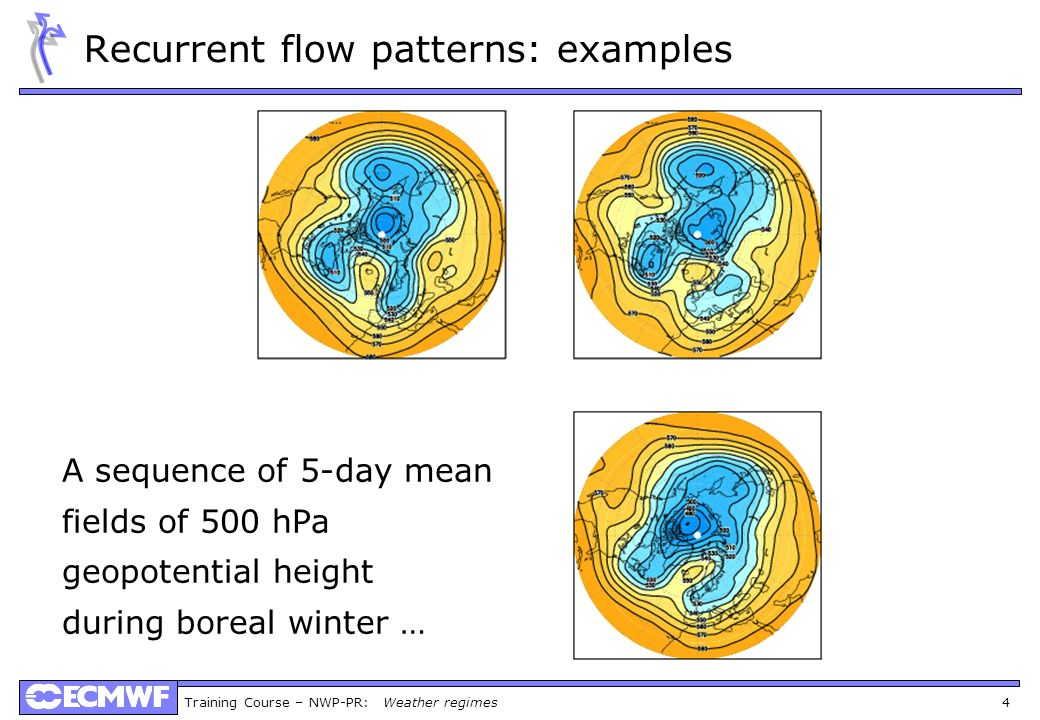 Training Course – NWP-PR: Weather regimes 4 Recurrent flow patterns: examples A sequence of 5-day mean fields of 500 hPa geopotential height during bo