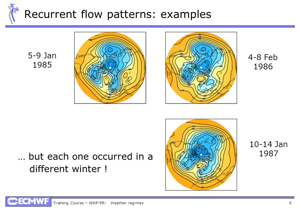 Training Course – NWP-PR: Weather regimes 5 Recurrent flow patterns: examples … but each one occurred in a different winter ! 5-9 Jan 1985 4-8 Feb 198