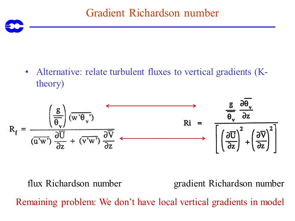 Gradient Richardson number Alternative: relate turbulent fluxes to vertical gradients (K- theory) flux Richardson numbergradient Richardson number Rem