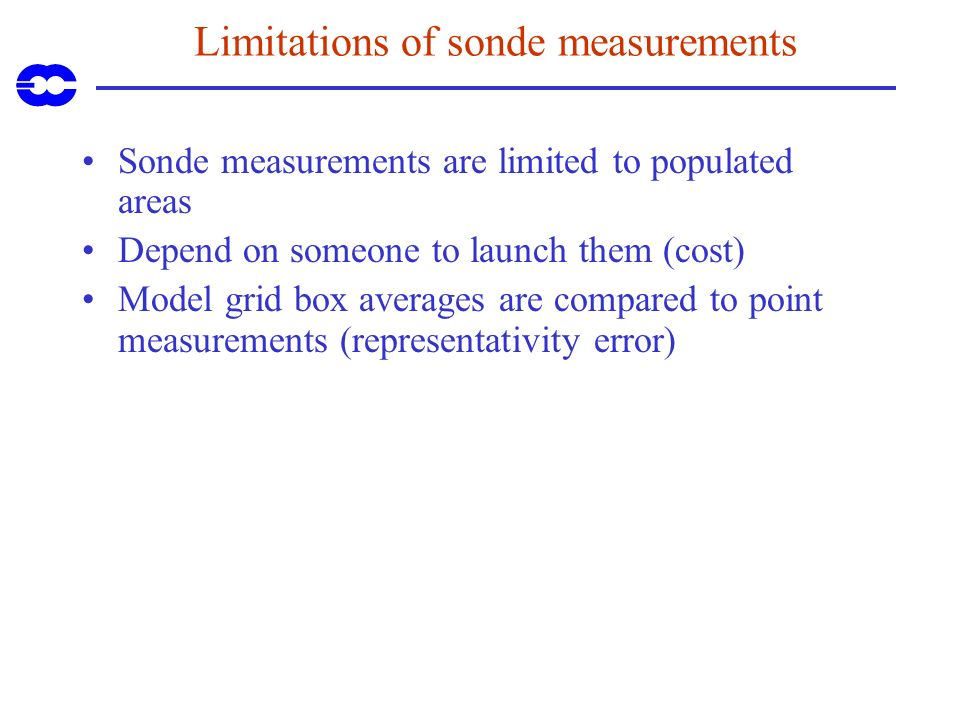 Limitations of sonde measurements Sonde measurements are limited to populated areas Depend on someone to launch them (cost) Model grid box averages ar
