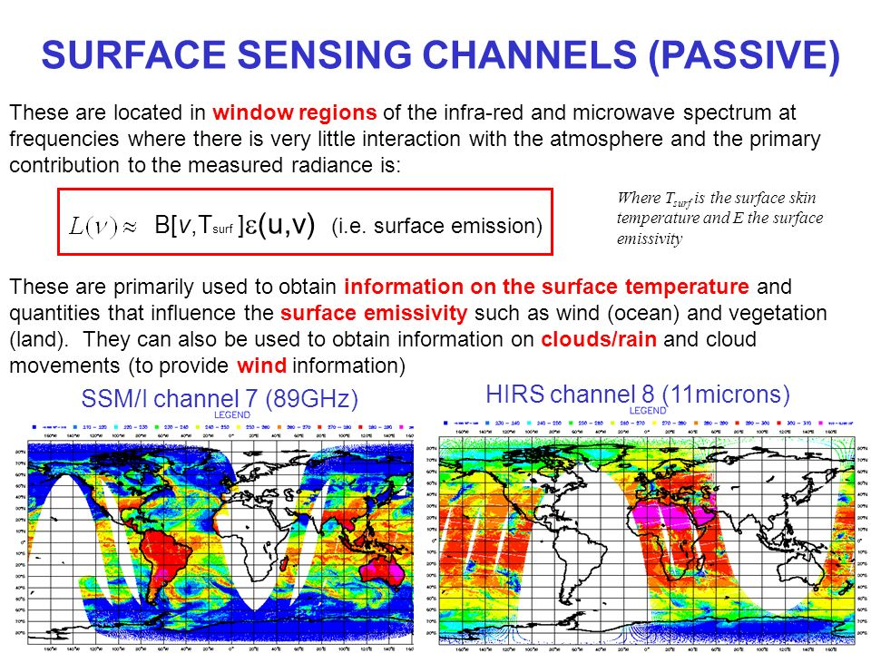 SURFACE SENSING CHANNELS (PASSIVE) These are located in window regions of the infra-red and microwave spectrum at frequencies where there is very litt