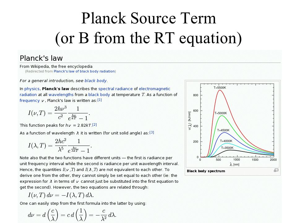 Planck Source Term (or B from the RT equation)