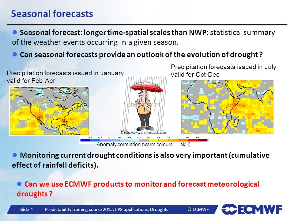 Slide 4 Predictability training course 2013, EPS applications: Droughts © ECMWF Seasonal forecasts Seasonal forecast: longer time-spatial scales than