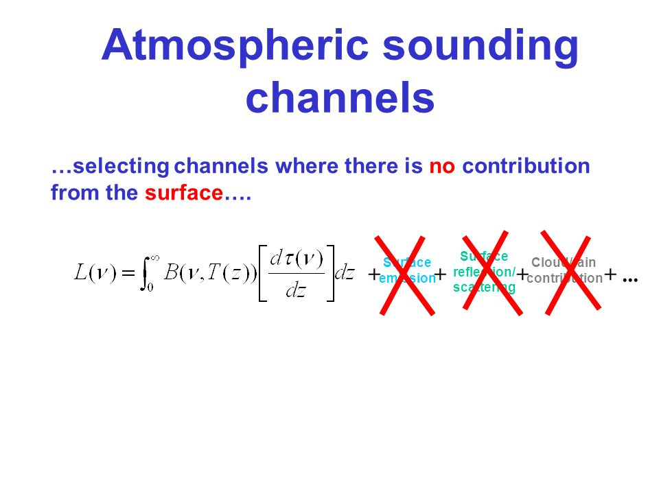 + Surface emission + Surface reflection/ scattering + Cloud/rain contribution +... Atmospheric sounding channels …selecting channels where there is no