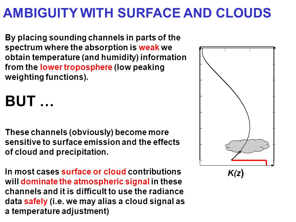 AMBIGUITY WITH SURFACE AND CLOUDS By placing sounding channels in parts of the spectrum where the absorption is weak we obtain temperature (and humidi