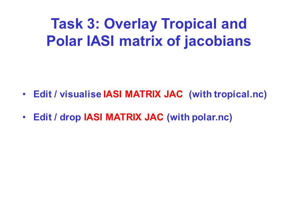 Task 3: Overlay Tropical and Polar IASI matrix of jacobians Edit / visualise IASI MATRIX JAC (with tropical.nc) Edit / drop IASI MATRIX JAC (with pola
